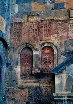 Cross-stones of Saghmosavank,  13th-century Armenian monastic complex located in the village of Saghmosavan in Aragatsotn, Armenia