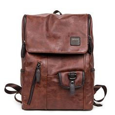 Hot Sale Oil Wax Paper Leather Backpacks Western style Fashion Bag Men Travel Casual Daypacks