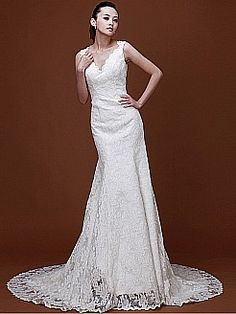 V Neck Mermaid Allover Lace Wedding Dress with Cutout Back 1008026 - USD $235.58