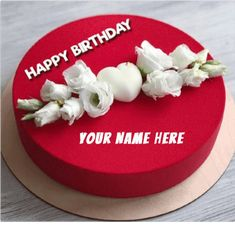 Write Name on Romantic Red Birthday Cake For Lover.Girlfriend Birthday Special Cake With Custom Name.Make Name Bday Cake Online.Lovely Cake Pics With Name Birthday Cakes For Men, Happy Bday Cake, Happy Birthday Cake Writing, Red Velvet Birthday Cake, Birthday Cake Write Name, Heart Birthday Cake, Strawberry Birthday Cake, Happy Birthday Wishes Cake, Birthday Cake For Husband