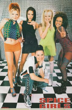 This was the only Spice Girls poster I had. I eventually cut there faces out and glued them into a shoe box for a school project. Emma Bunton, Spice Girls Outfits, Victoria Beckham, Baby Spice, Geri Halliwell, Girl Posters, 90s Outfit, 2000s Fashion, 90s Kids