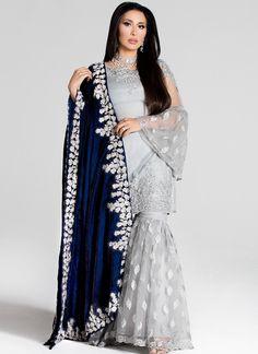 Light Grey Gharara With Navy Velvet Shawl Pakistani Bridal Dresses, Pakistani Dress Design, Pakistani Outfits, Indian Dresses, Eid Dresses, Wedding Dresses, Formal Dresses, Gharara Designs, Kurti Designs Party Wear