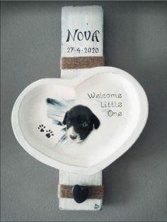 Geboorte bordje voor puppy met foto | Karin's Deco Atelier