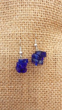 Michi's Boutique - $10.00   Deep Indigo Recycled Glass Earrings