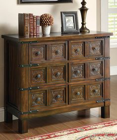 This Brown Accent Cabinet is perfect! #zulilyfinds Like the color and style of the cabinet.  jb