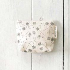 small cotton zip pouch  Broken Arrows by SlideSideways on Etsy, $15.00