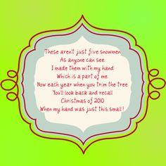 Christmas Handprint Ornament Poem | Feel free to use the tag I created ...