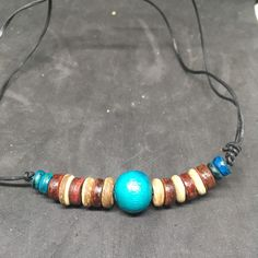 Beaded Choker Necklace Lether Adjustable Choker With Wooden Festival boho Beaded Choker Necklace, Leather Necklace, Beaded Bracelets, Necklaces, Pendant Necklace, Surf Wear, Turquoise Beads, Costume Jewelry, Chokers