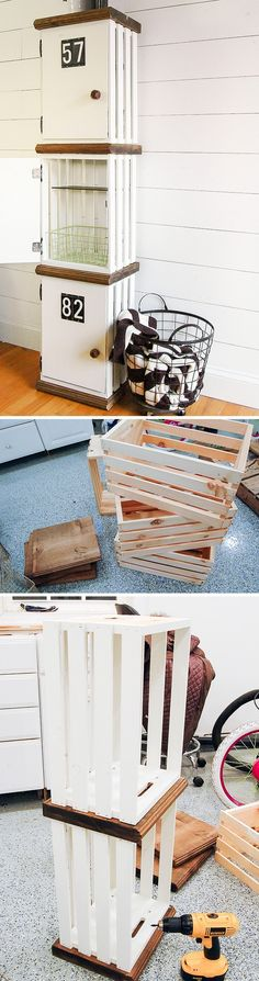 15 Brilliant DIY Crafts You Can Make with Wood Crates - Check out how to build a DIY locker from wood crates