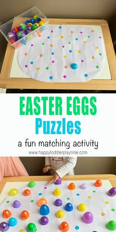 Easter Egg Puzzle - HAPPY TODDLER PLAYTIME - - Easter egg puzzle is a simple colour sorting activity that makes a great activity for toddlers and preschooler to practice their colours this Easter! Toddler Learning Activities, Sorting Activities, Easter Activities For Toddlers, Children Activities, April Preschool, Preschool Crafts, Preschool Classroom, Kindergarten, Diy Crafts