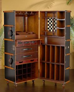 "dieselpunkflimflam: "" steampunktendencies: "" Black Steamer Trunk… "" With a built-in chess board, in case you meet Bengt Ekerot on your travels. """