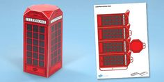 Get creative with this fantastic paper craft London phone box, simply cut and fold to create a paper phone box which is perfect for your classroom display, role play area or even as something lovely for your children to take home! London Telephone Booth, London Phone Booth, London Bus, Paper Toys, Paper Crafts, Beatles, Role Play Areas, English For Beginners, Printable Box