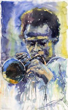Jazz Miles Davis 12 Print by Yuriy  Shevchuk