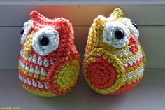 pattern for amigurumi owls crocheted in orange & yellow from Matawi's Crea's at Ravelry for about $4.39