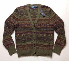 Vtg-Polo-Ralph-Lauren-Men-Wool-Fair-Isle-Nordic-Geometric-Knit-Sweater-Cardigan