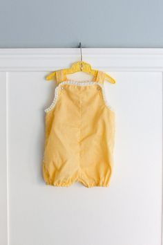 12-18 months: Yellow Gingham Ruffle Romper, Lace Trim