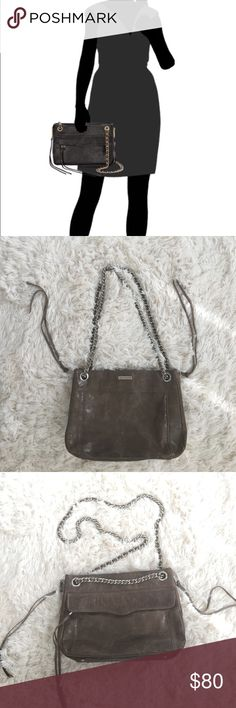 """Rebecca Minkoff Swing Shoulder bag The swing is a versatile, classic style that will freshen up all of your looks.The chain strap can be doubled, singled, or tucked inside for 3 stylish options: cross-body, shoulder bag, or clutch.  Water stains on bottom corner, which blends in because the bag has a distressed look.   Color: Distressed heather grey DETAIL & CARE 11"""" W x 8"""" H x 4"""" D with zipper gusset fully expanded Genuine leather Side zippers open to expand interior space Custom silver…"""