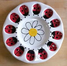 Deviled Egg Plate  Ladybugs Great for Spring and by JWGiftware, $25.00