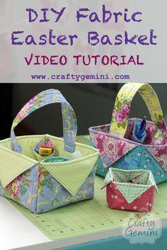 diy fabric easter basket video tutorial by crafty gemini Sewing Hacks, Sewing Tutorials, Sewing Crafts, Sewing Projects, Fabric Crafts, Bag Tutorials, Diy Projects, Sewing Tips, Sewing Box