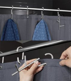 Branch - shower curtain rings with hooks. Great way to hang towels by alisa Gadgets And Gizmos, Cool Gadgets, Shower Curtain Rings, Things To Buy, Stuff To Buy, Curtains With Rings, Home Hacks, Organization Hacks, Organizing Ideas