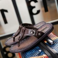 2017 Hombres Del Verano Sandalias de Playa Zapatos Casuales Sandalias Cómodas Zapatillas de Playa Masaje Sandalias Hechas A Mano de Los Hombres de Cuero Genuino en Sandalias de los hombres de Zapatos en AliExpress.com | Alibaba Group