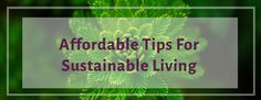 Affordable Tips For Sustainable Living - as told by a recent college grad!