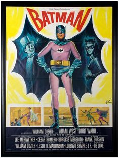 Adam West 1966 Batman movie poster with the Penguin and Catwoman.