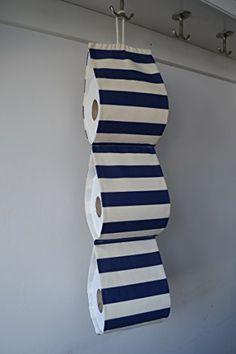 Fabric Toilet roll holder storage at 3 rolls/ cream with navy stripes/ Handmade Toilet Roll Holder Storage, Loo Roll Holders, Navy Stripes, Soft Furnishings, Two Piece Skirt Set, Bunker, Cream, Fabric, Handmade