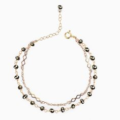 Bracelet Pierres fines Pyrite doré à l'Or fin : Bracelet par ila-bella -bijoux semi-précieux www.ilabella.com