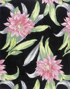 Textile Design of Pink Flowers   Elza Sunderland (Hungary, active United States, 1903-1991)   Gouache on paper   USA, 1942   Los Angeles County Museum of Art, LACMA