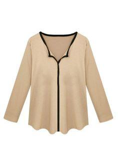 Casual Loose Patchwork Long Sleeve V Neck Women T-Shirt - Gchoic.com