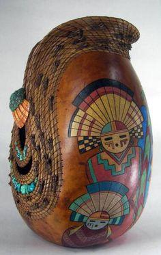 Fine Gourd Art by Judy Richie, Red Cloud Originals Member Texas Gourd Society