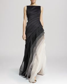 Ombre Voile Satin Gown in Black Vapor (Halston Heritage) Elegant Dresses, Pretty Dresses, Formal Dresses, Ombre Gown, Image Mode, Satin Gown, Mode Hijab, Beautiful Gowns, The Dress
