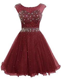 Short Tulle Beading Homecoming Dress Burgundy