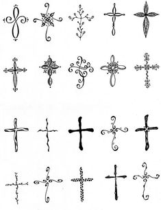 EmBound: Cross Tattoos - I like the upper left-hand corner one & second from the. EmBound: Cross Tattoos - I like the upper left-hand corner one & second from the right in the second row. Cross Tattoo On Wrist For Guys Pretty Cross Tattoo, Cross Tattoo On Wrist, Small Cross Tattoos, Cross Tattoos For Women, Back Tattoo, Small Tattoos, Feminine Cross Tattoos, Cross Finger Tattoos, Simple Cross Tattoo