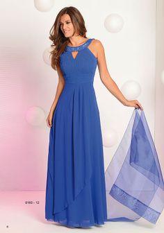 Vestido fiesta largo, color azul. Talla 46. www.maycanmodas.es