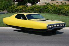 Vintage car meets hovercraft - art series by Beni Bischof
