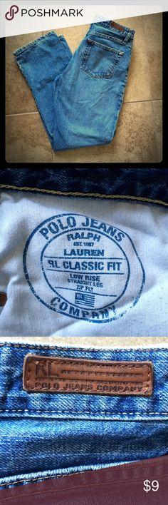 Ralph Lauren Polo vintage jeans Classic fit. Low Rise. Straight Leg. Size 8x32. Tear in left leg as pictured. Ralph Lauren Jeans Straight Leg