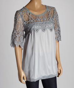 Look what I found on #zulily! Gray Crochet Silk-Blend Blouse by Pretty Angel #zulilyfinds