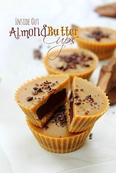 Inside out Almond Butter Fat Bomb Cups by Peachy Palate.Dairy free and sugar free.these almond butter cups filled with chocolate ganache are a delightful guilt free treat! Low Carb Sweets, Paleo Sweets, Vegan Dessert Recipes, Gluten Free Desserts, No Bake Desserts, Healthy Recipes, Almond Butter Fat Bombs, Nut Butter, Vegan Energy Balls