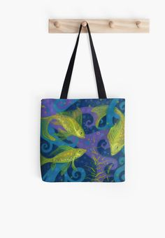 """""""Golden Fishes, underwater creatures, blue & yellow"""" Tote Bags by clipsocallipso 