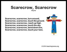 10 Autumn Songs for Preschoolers. Many of these are tied to movement! Especially love the Scarecrow Rhyme, which allows for lots of stretching high and low. Add in some cross-lateral movements too (left arm pats right knee, switch) for great brain integra Preschool Poems, Preschool Music, Preschool Activities, Movement Songs For Preschool, Preschool Action Songs, Kindergarten Songs, Thanksgiving Preschool, Fall Preschool, Halloween Songs Preschool