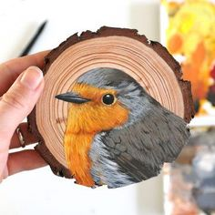 European Robin, 100 Day Challenge, Wood Circles, Wood Slices, 100th Day, Creative Studio, Gouache, Painting On Wood, Poultry