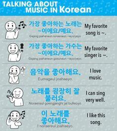 Talking about music Korean Slang, Korean Phrases, Korean Words Learning, Korean Language Learning, How To Speak Korean, Learn Korean, Language Study, Language Lessons, Korean Alphabet