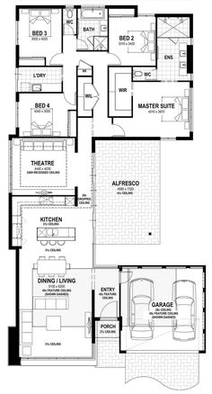 3100 Sq Ft House Plans Beautiful 3100 Square Ft Length 83 Width 45 73 with Images Family House Plans, Best House Plans, Bedroom House Plans, Dream House Plans, Modern House Floor Plans, Narrow House Plans, Home Design Floor Plans, Summit Homes, Courtyard House Plans