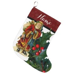 Vintage Victorian Santa Claus w/ Holly & Toys Large Christmas Stocking