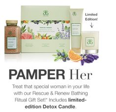 Arbonne has a #special #promotion that just started.  Treat yourself — or a special person in your life — with our new Rescue & Renew #Bathing Ritual Gift Set   Special price $126 +tax. I am offering 20% off that price🎉, #FREE shipping 🎉and FREE #gift 🎉if you buy 2 or more. This exclusive set, which includes our Rescue & Renew Detox Bath Soak, Detox Face Mask and limited edition Detox Candle, offers everything you need for a #luxurious pampering.