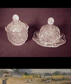 Antique EAPG Pattern Glass Childs Butter Dish Sugar Bowl Pennsylvania Balder