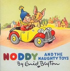 """BLYTON,ENID. NODDY AND THE NAUGHTY TOYS. Lond.: Samson Low Marston, no date, ca 1948. Sq. 3 3/4"""", pict. wraps, some cover rubbing, VG. Noddy Garage Book Number 2. Illus. with color covers and in b&w on every page by Beek featuring Noddy, Mrs. Plump Doll and golliwoggs."""