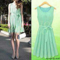 Summer Womens Lady Sleeveless Mint Green Pleated Chiffon Vest Dress Skirt  - $44